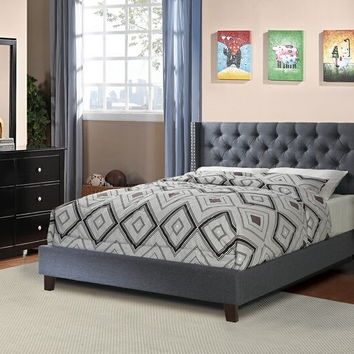 4 pc Janelle collection blue grey faux linen tufted upholstered queen bed set