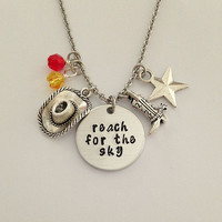 "Disney inspired Toy Story necklace ""reach for the sky"" Woody Buzz Lightyear hand stamped swarovski crystals charms"