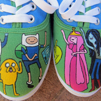 Hand Painted Shoes - Adventure Time