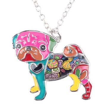 Pug Enamel Necklace