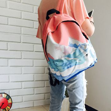 Ulzzang Fresh Landscape Embroidery Shoulder Bag Backpack