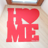 HOME floor mat. Heart in your home. Welcome doormat. Home decor