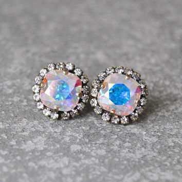 Aurora Borealis Rhinestone Swarovski Crystal Stud Earrings Northern Lights Pastel Rainbow Pastel Rhinestone Pendant Necklace Mashugana
