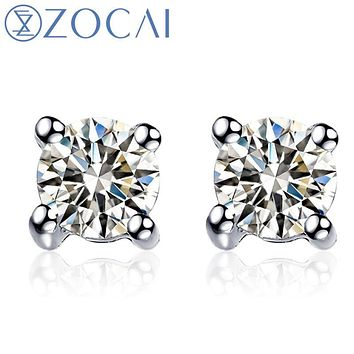 ZOCAI earrings Trendy Wedding Round Cut 0.18 CT Certified Solitaire Diamond Stud Earrings 18K white / rose / yellow Gold E00008