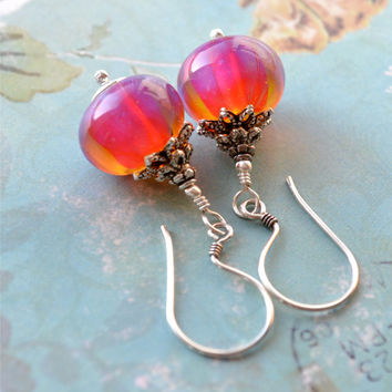 Artisan Lampwork Earrings, Sterling Silver Earrings, Hot Pink Earring, Fuchsia Wedding, Unique Handmade Beads, Bright Jewelry, Party, Summer