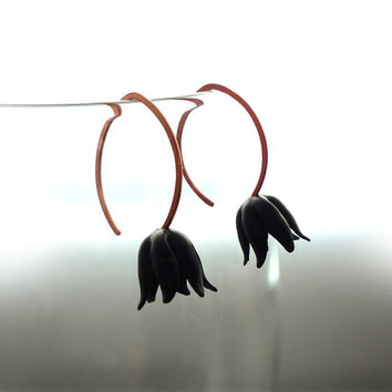 Matte Black Tulip Earrings