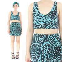 80s 90s Club Kid Two Piece Outfit Bra Crop Top Mini Skirt Set Co-ords Matching Set Abstract Print Blue Cotton Spandex Festival Outfit (XS/S)