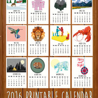 "2016 Printable Calendar, Monthly Calendar, ToTheWoodside Art Prints, Wall Calendar 2016, Printable Gift, Instant Download, 8x10"" & A4 PDF"