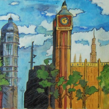 London England Big Ben ACEO PRINT England scenes by brandycattoor
