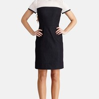 Donna Morgan Perforated Detail Denim Sheath Dress (Regular & Petite) | Nordstrom