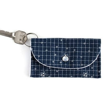 Navy Blue Keychain Wallet with White Net Pattern, Student ID Holder and Key Ring, Dorm Room Key Ring and ID Cardholder, Free Shipping