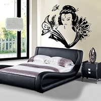 Japanese Wall Art Fashion Women Decals Vinyl Decal Girl Lotus Flowers Stickers Home Decor Bedroom Window Butterfly Mural Ah157
