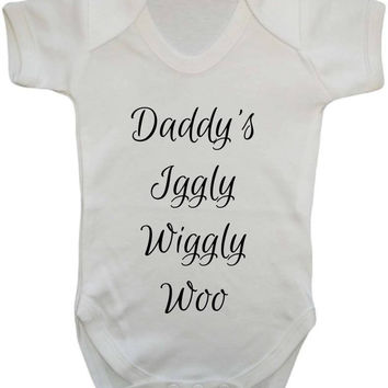 Daddy's Iggly Wiggly Woo Cute Nickname Baby Onesuit Vest
