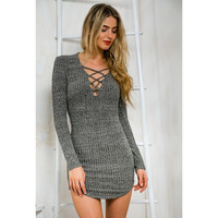 Slim Knit Sexy One Piece Dress [9548158159]