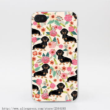 314R Dachshund And Flower Hard Transparent Case Cover for iPhone 4 4s 5 5s 5c SE 6 6s Plus