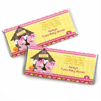 Twin Girl Puppy Dogs - Personalized Baby Shower Candy Bar Wrapper Favors