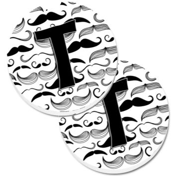 Letter T Moustache Initial Set of 2 Cup Holder Car Coasters CJ2009-TCARC