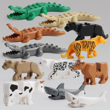 Building Blocks Mini Diy Small Animal Shark Figures Model Compatible With Legoingly Accessory Handmade Toys For Children F5