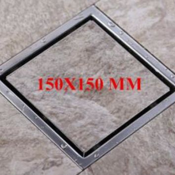 Free shipping Tile Insert Square Floor Waste Grates Bathroom Shower Drain 110 x 110 or 150x 150MM 304 Stainless steel