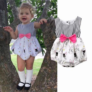 Newborn Baby Girls Bunny Bowknot Romper Bodysuit Jumpsuit Easter Outfit Clothes