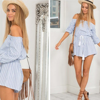 Fall Fashion 2016 Blue Off the Shoulder Sexy Romper [6446684868]