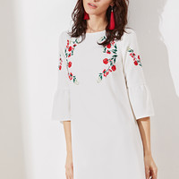 White Bell Sleeve Embroidered Tunic Dress -SheIn(Sheinside)