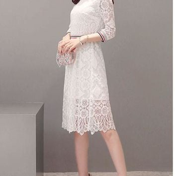 Casual Contrast Striped Trim Slit Hollow Out Lace Skater Dress