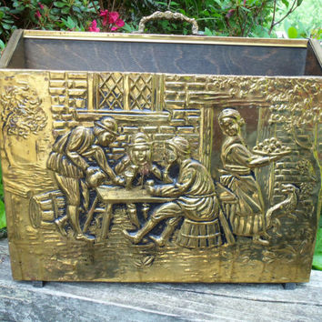 Brass Magazine Rack Hammered Brass Rack Old English Pub Scene 2 Compartments