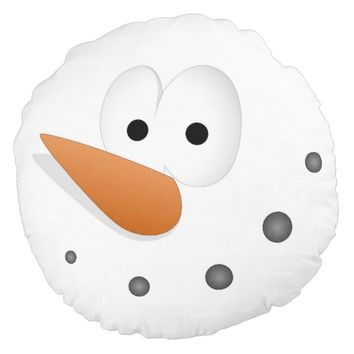 Silly Snowman Face Cartoon Round Pillow