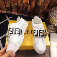 2018 Fendi top version leather casual white shoes women's shoes