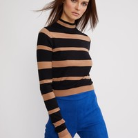 Black and Beige Striped T-Neck Sweater