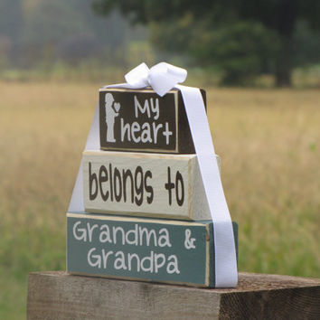 "Wood Stacking Gift Blocks for Grandma and Grandpa. ""My heart belongs to Grandma & Grandpa"" - Christmas gift. Grandparents Day"