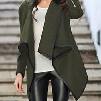 Army Green Turtleneck Zipper Asymmetrical Long Sleeve Coat