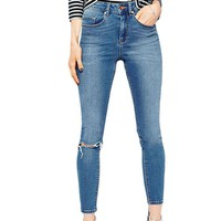 Womens Classic High Waist Slit Knee Tight-fitting Jeans Light