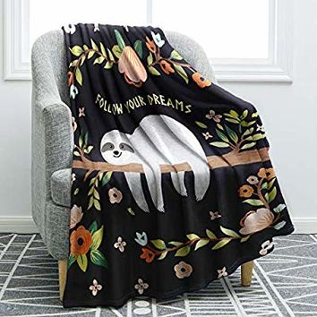 "Jekeno Sloth Print Throw Blanket Smooth and Soft Blanket Kid Baby for Sofa Chair Bed Office Travelling Camping 50""x60"""