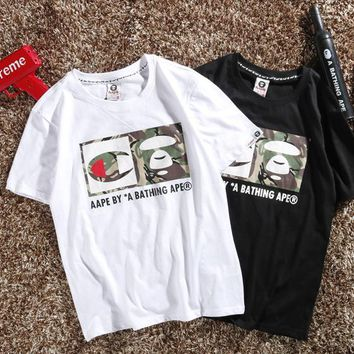 2018 summer new explosions leisure ape head letter short sleeve T-shirt half sleeve men and women lovers