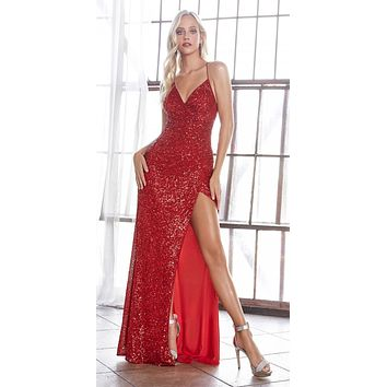Long Fitted Sequin Gown Red Gathered Waistline Lace Up Back