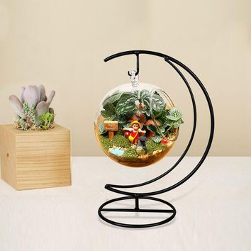 Handmade Ball Vase Heart Moon Iron Stand Simple Stylish Hanging Gift Home Decor