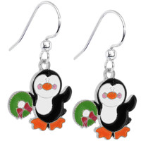 Joyful Holiday Wreath Penguin Earrings | Body Candy Body Jewelry