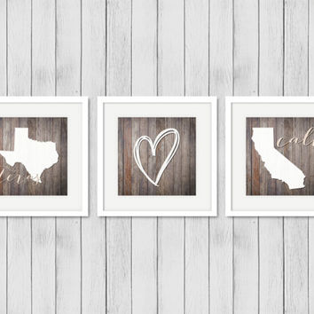 California Texas Rustic wood print set Country Home decor State Prints Apartment wall art Wedding gift Long distance friendship Housewarming