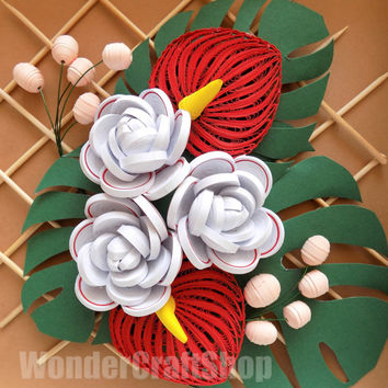 White Rose Red Anthurium Flower Wall Art, Artificial Flower, Paper Flowers, Floral Home Decor,Flower Arrangement, Mother's Day Gift