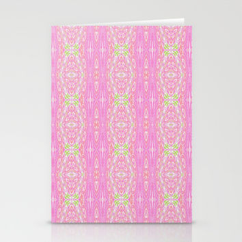 Pretty Pink And Green Abstract  Stationery Cards by KCavender Designs