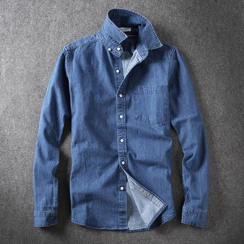 Spring Arrival Men's Shirts With Long Sleeves Slim Black Blue Denim Men's shirt