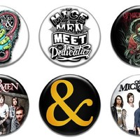 "Set of 6 New Of Mice & Men 1.25"" Pinback Button Badge Pin"