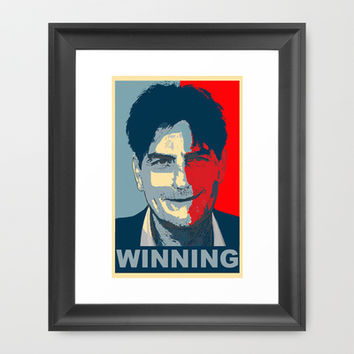 Charlie Sheen OBAMA WINNING tee obey tshirt Framed Art Print by arul85 | Society6