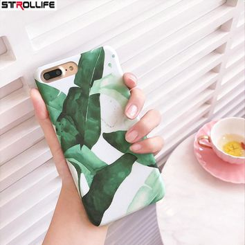 STROLLIFE Cool Green Plants Banana Leaves Phone Cases For iphone 6 case Cartoon Leafs Hard PC Back Cover Capa For iphone6s Coque