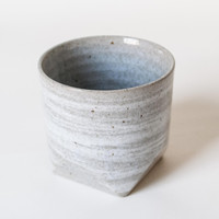 Faceted Rock Ceramic Teacup Grey