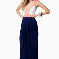 Pleated Block Maxi Dress