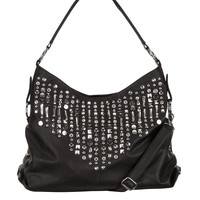 Rhinestone Embellished Zip Top Satchel