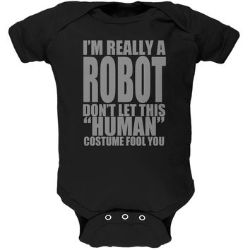 Halloween Human Robot Costume Black Soft Baby One Piece